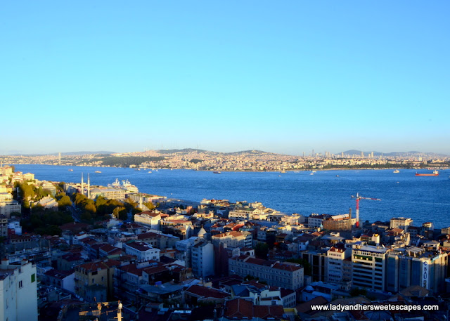 a view of Europe. Bosphorus Strait and Asia from Galata Tower