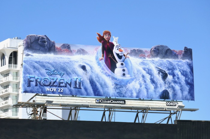 Frozen II waterfall billboard