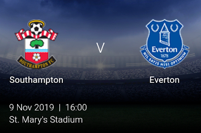 LIVE MATCH: Southampton Vs Everton Premier League 09/11/2019