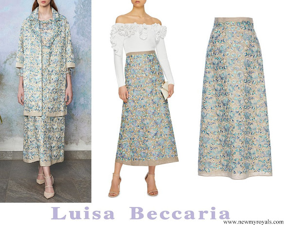 Queen Rania wore Luisa Beccaria Linen Embroidered Maxi Skirt