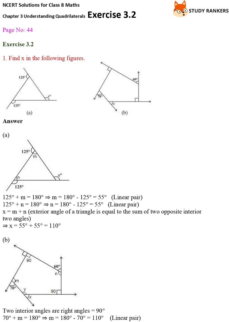 NCERT Solutions for Class 8 Maths Ch 3 Understanding Quadrilaterals Exercise 3.2 1