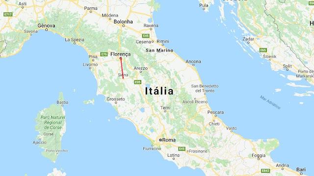 Mapa da viagem de Siena a Florença