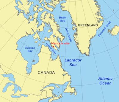 La mappa indica il sito di Nanook sull'isola di Baffin in Canada