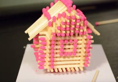 Cách làm nhà bằng que diêm đơn giản 13