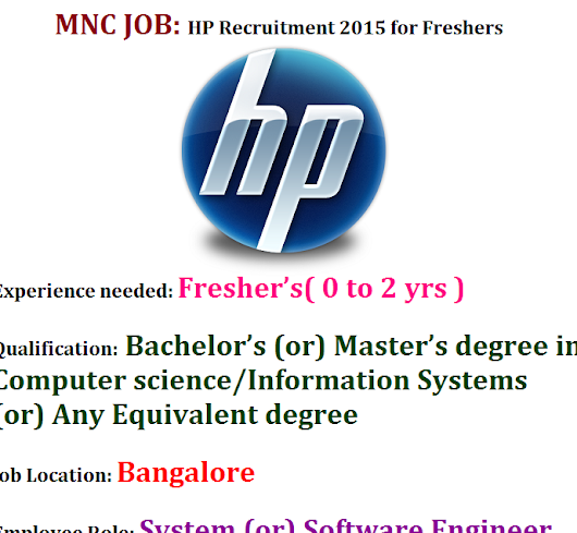 HP Recruitment 2015 for Freshers