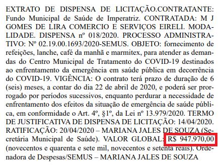 COVID-19: No dia 7 de maio de 2020, foi postado essa matéria - Secretária de saúde assinou contrato de cerca de 950 mil reais para lanches e refeições!!!