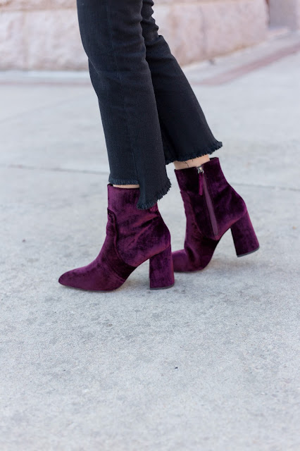 Cropped Frayed Denim & Velvet Booties
