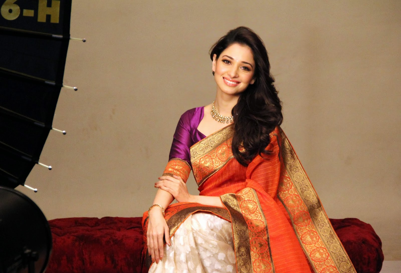 Tamanna In Tadakha Halfsaree: Tamanna In Silk Saree Photos