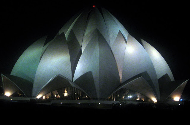 Lotus temple at night view for tourists