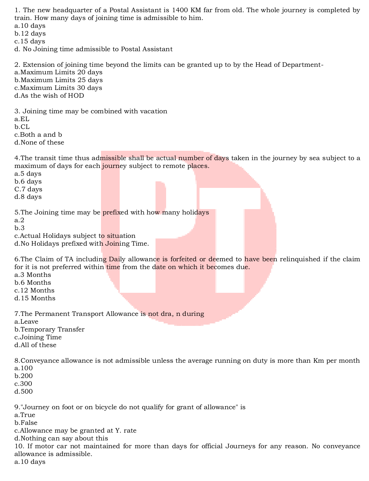 TA RULES MADE EASY - 20 MOST IMPORTANT MCQ - PoTools