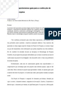 PEQUENO GUIA SOBRE O PROJETO DE PESQUISA - Alvaro Bianchi