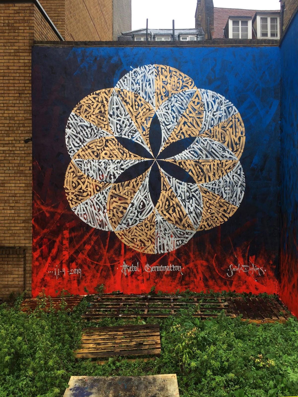 Detalle de la caligrafía y caligrafiti en el mural de Sadi Dokins en Londres