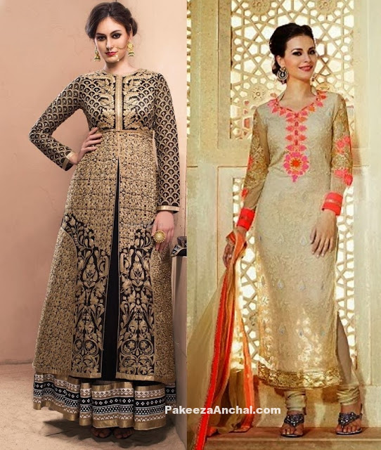 Pakistani Straight Cut Suits 2017, Long Straight Salwar Suits