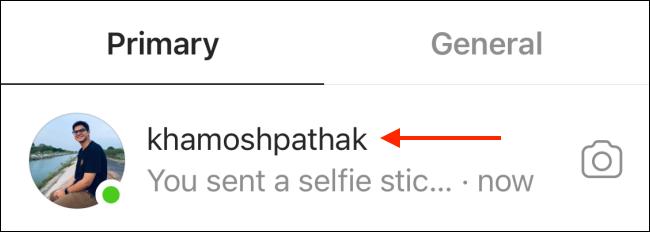 حدد المحادثة من Instagram DM