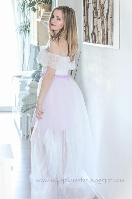 Suknia koronkowa hiszpanka z odpinanym trenem DIY.Sesja w bieli