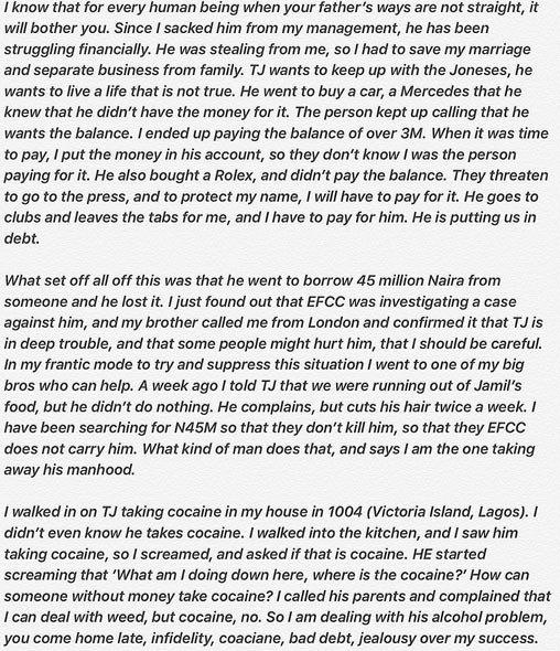 Tiwa Savage: TeeBillz Borrowed N45m From Someone And EFCC Is On His Neck