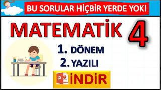 4. SINIF MATEMATİK 1. DÖNEM 2. YAZILI TESTİ