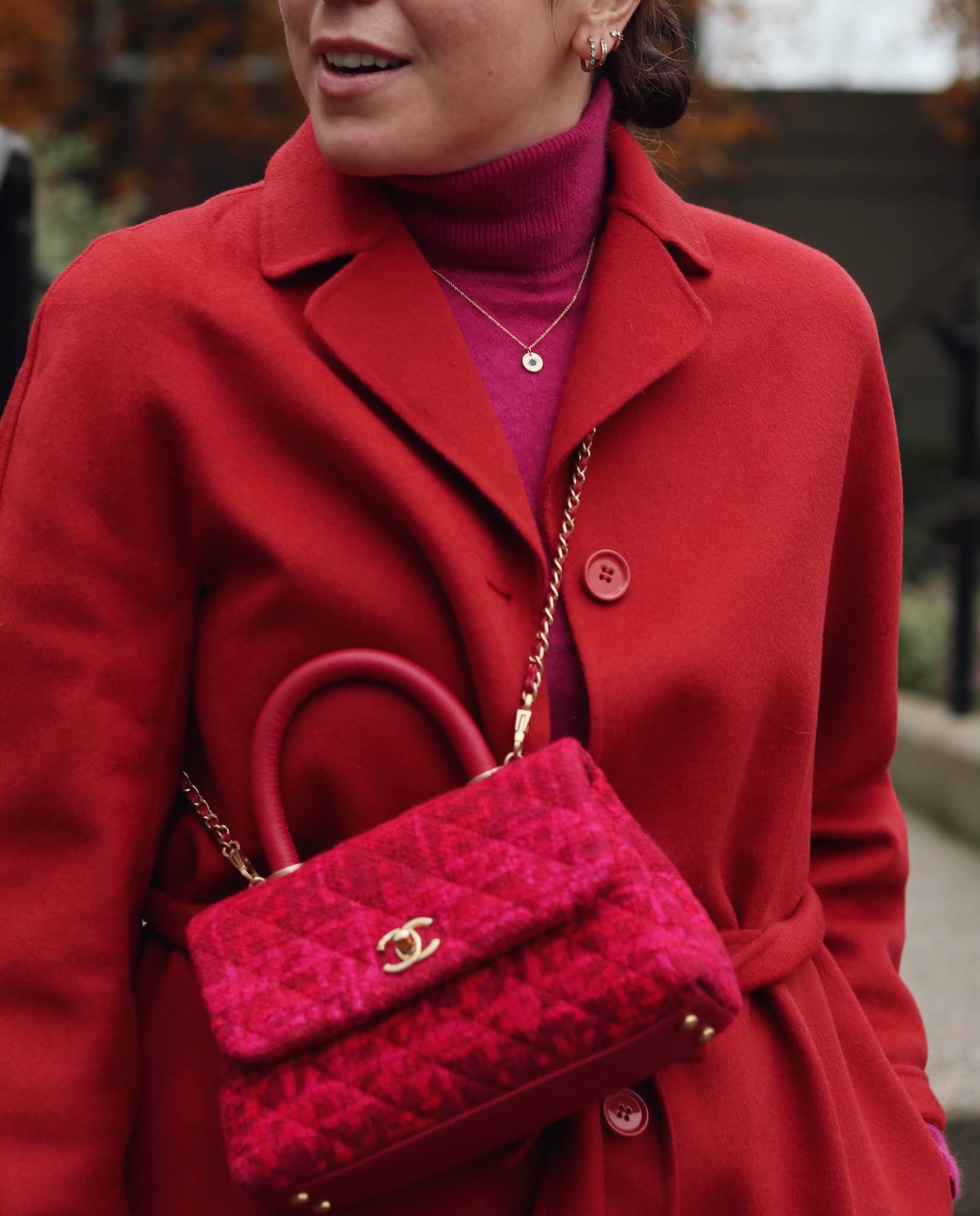 chanel coco handle small on pink and red