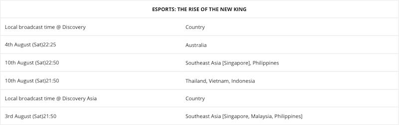 eSports: The Rise of the New King premiere schedule