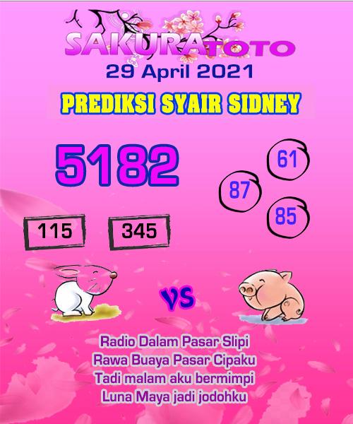 Syair Sakuratoto Sidney Kamis 29 April 2021