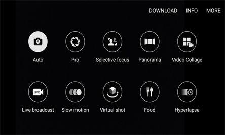 عند فتح تطبيق الكاميرا سوف تجدون وضعية تصوير البانوراما ووضعية لتصوير الطعام وتصوير ثلاثي الابعاد وهُناك أيضًا وضعية برو التي شاهدناها لأول مرة في الإس 6، وهي تسمح لك بالتحكم بالأيزو وفتحة العدسة وموازنة اللون الأبيض.