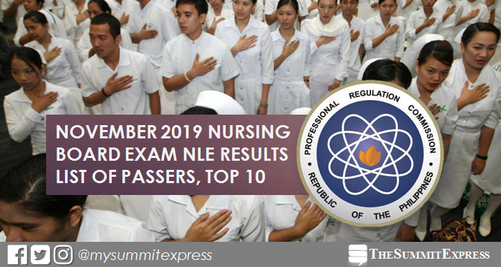 FULL RESULTS: November 2019 NLE Nursing board exam list of passers, top 10
