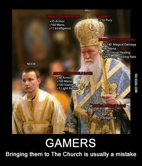 How gamers think when in church