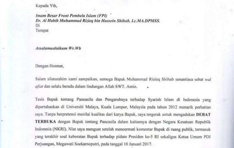 Surat ajakan debat terbuka Boni Hargens ke Rizieq Shihab