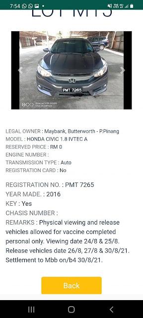 Honda Civic 1.8 (2016) di lelong bermula pada harga Rezab RM0