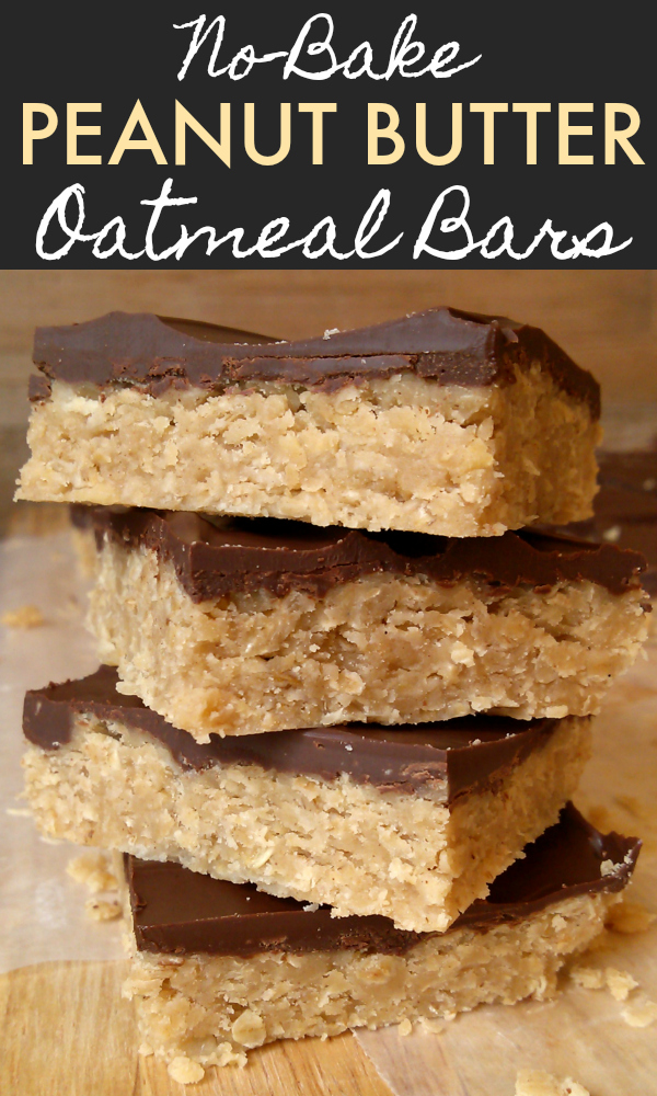An easy no-bake peanut butter oatmeal bar recipe topped with chocolate. So easy and delicious!