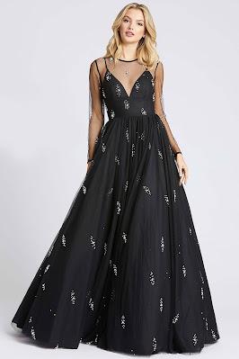 iiiusion long sleeves ieena for Mac Duggal Evening dress Black color