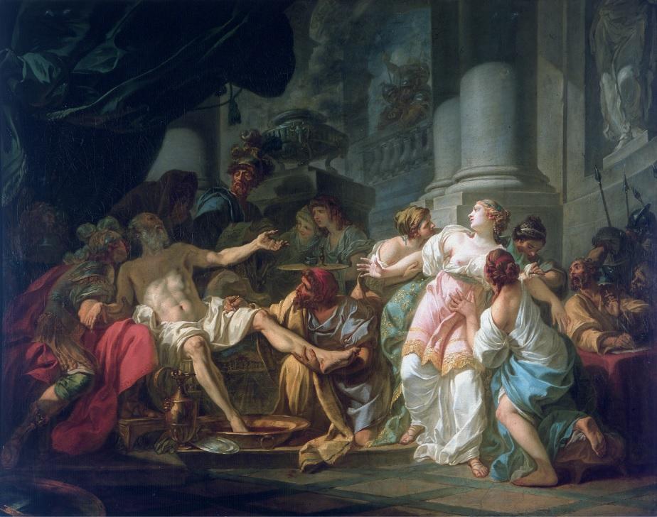"""A morte de Sêneca"" (1773). Pintura de Jacques-Louis David (1748-1825) exposta no Musée du Petit-Palais, Paris, França."