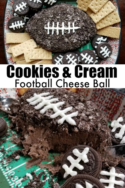 This sweet cookies and cream cheese ball is the perfect game day dessert.  It is full of chocolate goodness and goes with a ton of fun dippers. Grab a bite and enjoy the big football game!