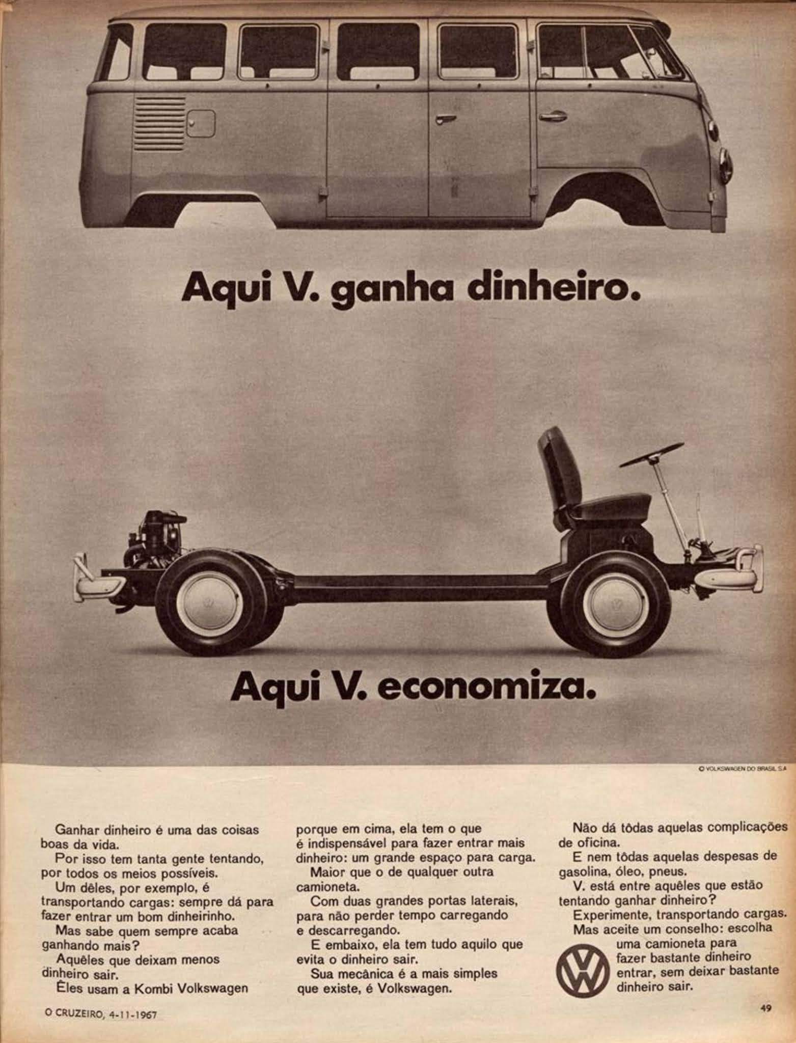 Propaganda da Volkswagen apresentando as vantagens da Kombi em 1967