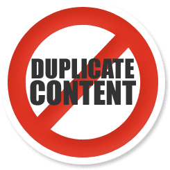 No Duplicate content sign