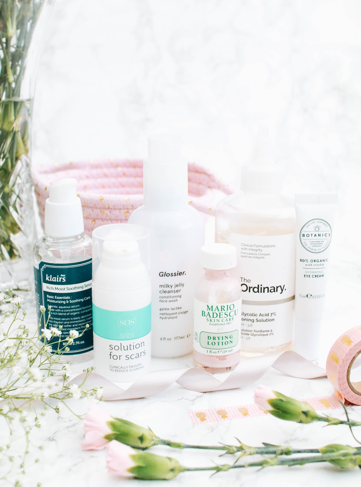 my current skincare routine, skincare, moisturiser, serum, cleanser, glossier, solution for scars, klairs, hydrate, mario badescu, drying lotion, eye cream, boots botanics, natural, organic, products, skin, beauty, makeup, lifestyle, forever september, beauty blog