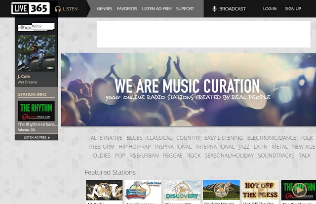 Live365 free radio station website's homepage