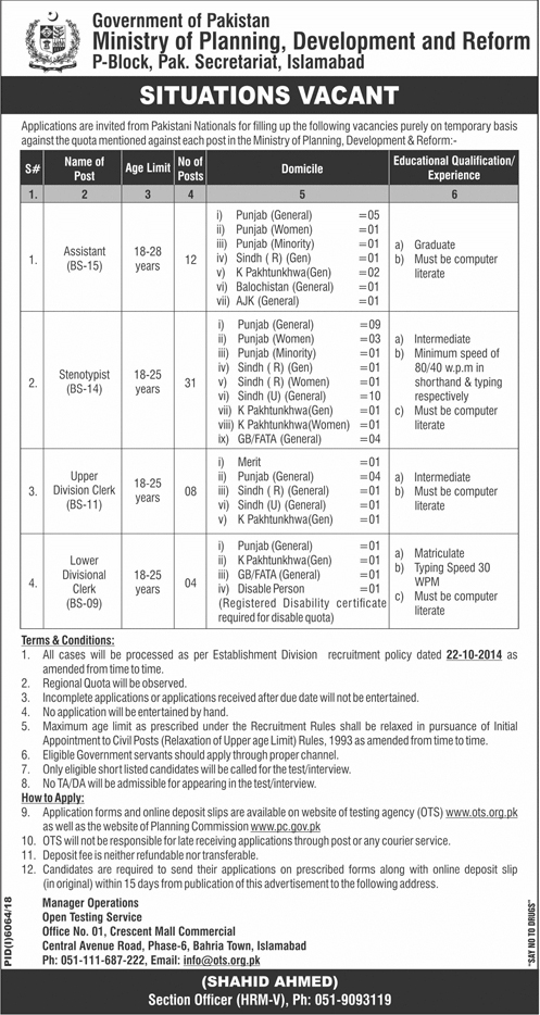 Jobs In Ministry Of Planning Development And Reform 2019