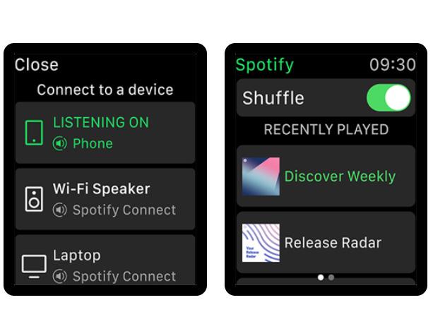 """試試跟 Apple Watch 說""""嘿 Siri""""在 Spotify 上播放音樂"""