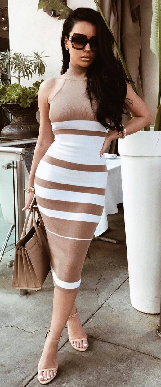 nude and white elegant outfit / dress + bag + heels