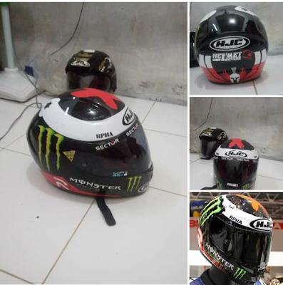 Modifikasi Helm Cargloss Yamaha jadi Helm HJC Lorenzo