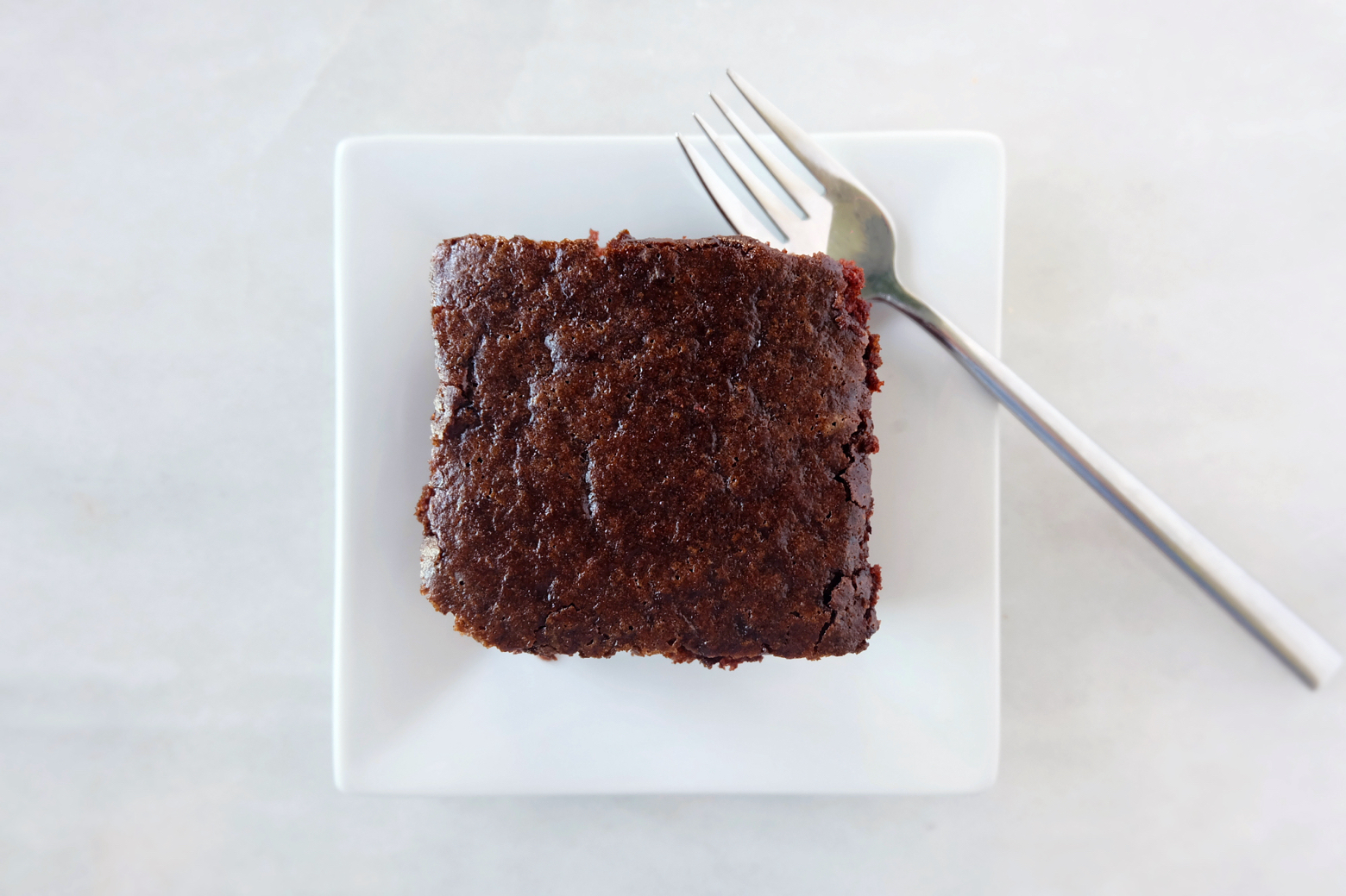 slice of chocolate cake viewed from above
