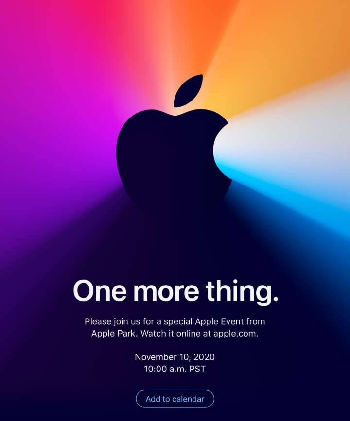 Apple Announces Event for Nov 10 Where New Macs with Apple Chips Expected