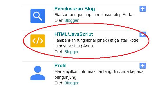Tambahkan Gadget di Blog