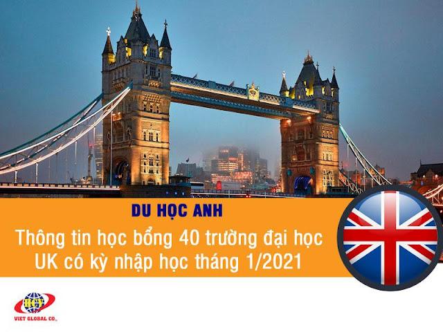 Du học Anh: Thông tin học bổng 40 trường đại học Anh Quốc có kỳ nhập học tháng 1/2021