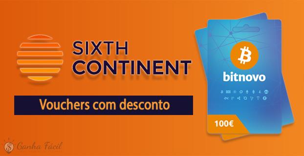bitnovo sixth continent bitcoin criptomoedas desconto dinheiro compra comprar voucher vale
