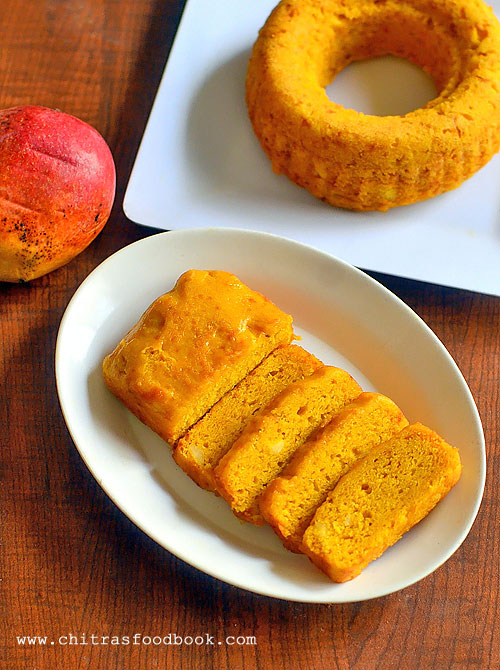 Eggless mango cake without condensed milk