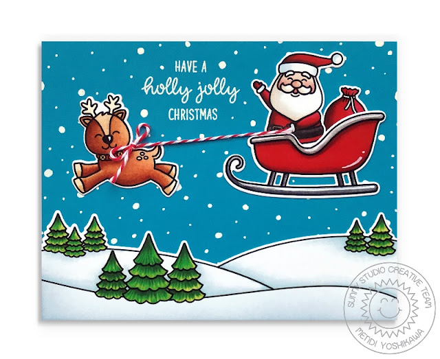 Sunny Studio: Holly Jolly Santa with Sleigh & Reindeer Holiday Christmas Card (using Santa Claus Lane & Scenic Route Stamps)