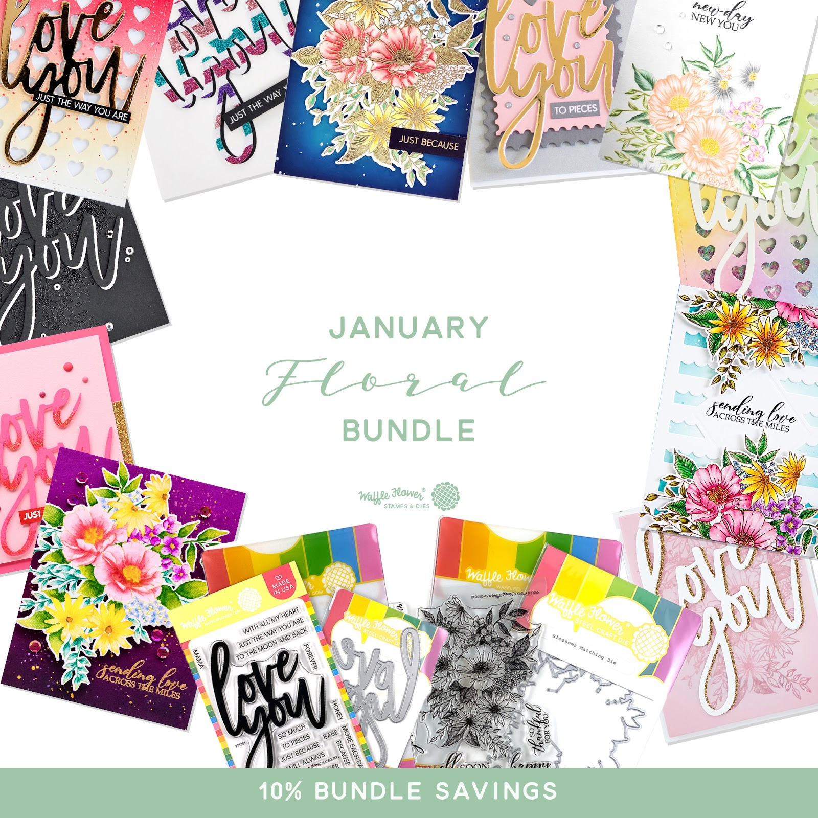 Waffle Flower January 2020 Floral Bundle