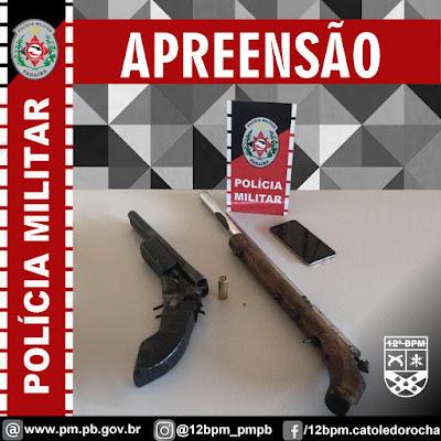 POLÍCIA MILITAR APREENDE DUAS ESPINGARDAS CALIBRE 12 NA CIDADE DE BREJO DO CRUZ-PB